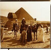 EGYPTE Voyage Sphinx Pyramides de Gizeh Archéologie ca 1910, Photo Stereo Plaque