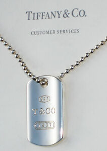 Tiffany & Co Sterling Silver Mens Necklace 1837 Square Makers I.D Tag Pendant