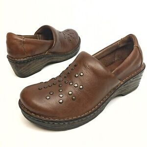 @@ Born Women's Clogs Shoes 8 Comfort Brown Leather Studded Work Wedge Platfo