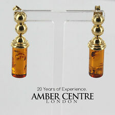 Italian Made Unigue Baltic Amber in 9ct Gold Drop Earrings GE0253 RRP£240!!!