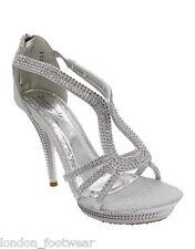 Womens Diamante High Heels Bridal Sandals Ladies Prom Party Platform Evening 3-8
