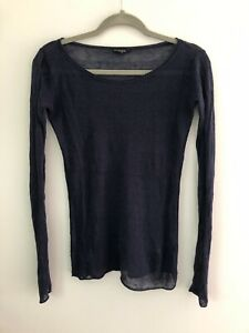 Club Monaco Linen Blend Top, Semi Sheer, Long Sleeve, Dark Blue, Size XS