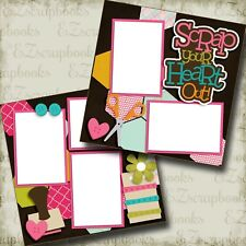 Scrap Your Heart Out - 2 Premade Scrapbook Pages - Ez Layout 3360