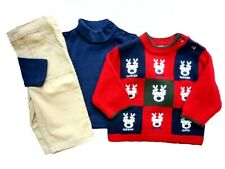 Boys NWT B T Kids 3 Pc Reindeer Sweater Pants Holiday Outfit 3 6 mos NEW