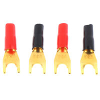4Pcs Gold Plated Tuning Fork Banana Y Spade Plug Speaker Terminals Connectors