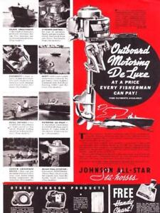Lot of 3 Vintage ads 1937 Creek Chub Lures Johnson Evinrude Outboards  Cabin Art