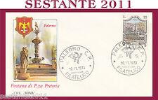 ITALIA FDC ROMA 1973 PALERMO FONTANA PRETORIA ANNULLO PALERMO G434