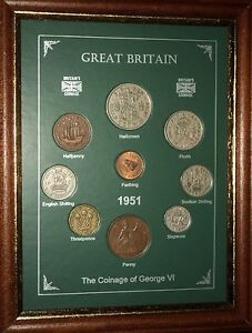 FRAMED 1951 COIN BIRTH YEAR GIFT SET VINTAGE 70th BIRTHDAY PRESENT (Rare Penny)