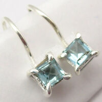 "925 Sterling Silver Original SQUARE CUT BLUE TOPAZ Beautiful Earrings 0.6"" NEW"