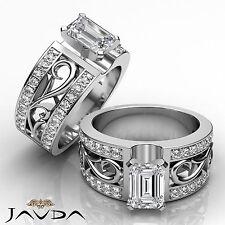 Emerald Diamond Fashion Solitaire Engagement Ring GIA F SI1 Platinum 950 1.55 ct