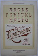 Restaurant Kiautschau Schrift Orig Lithografie F. Schweinmanns Jugendstil 1900