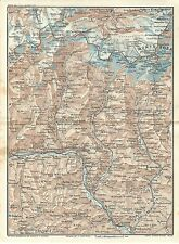 Carta geografica antica VALLE D' AOSTA MONTE ROSA CERVINO 1914 Old antique map