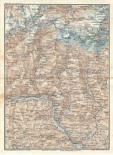 Carta geografica antica VALLE D' AOSTA MONTE ROSA CERVINO 1914 Old antique map