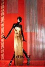 New Versace Nude Fringe Gown Dress 38