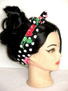 Hair wrap Bandana Rockabilly Pinup Head Scarf black dots rose Headband dolly bow