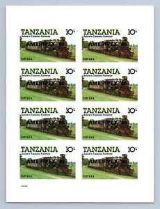 Tanzania 1985, 10s Locomotive Optd Ameripex 86 MNH Imperf M/S Sheet #M1187A