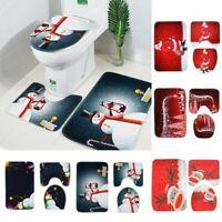 3PCS Christmas Santa Claus Snow Bathroom Rug Mat Toilet Lid Cover Set Decoration