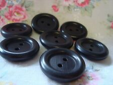 7 BLACK 1940's Wood / Wooden Buttons