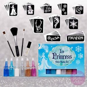 Ice Princess Glitter Tattoo Kit - Frozen Inspired Princess, Snowflakes, Elsa
