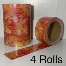 Lot of 4 Rolls of Orange Cosmic Tie Dye Patterned Printed Duck Tape / Duct Tape