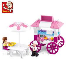 New Sluban Bricks City Building Blocks Pink Dream Dinning Car Girls Toys #0522