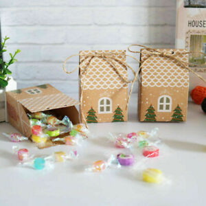 10Pcs Christmas House Shape Candy Bags Xmas Gift Box Cookie Bag Party Decoration