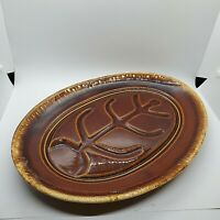 Vintage Hull Pottery Brown Drip Oval Serving Platter Oven Safe Made in USA Grill