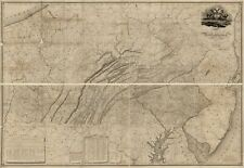 "16"" x 24"" 1822 Map Of Pennsylvania County Surveys & Original Documents"