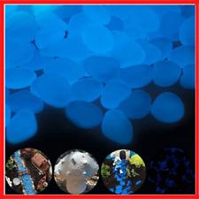 BEST 300 pcs Blue Glow in the dark pebbles for Outdoor Decor Garden Stones Rocks