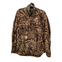 Drake Waterfowl System Advantage Wetlands Camo Lined Button Up Jacket Sz Large