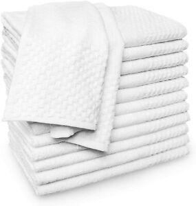 Kaufman 6,12,24 piece set Premium Quality White Checkerboard Hand Towel,100 %USA