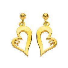 Boucles d'oreilles plaqué or coeur et oxyde de zirconium gold plated