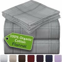Mellanni Bed Sheet Set 100% Organic Cotton Heavyweight Flannel 180GSM, 4-Piece