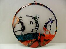 Metal Kokopelli Laser Cut Out Circle (8in) - Made In USA -