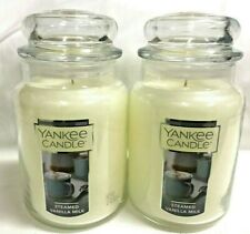Yankee Candle (2) STEAMED VANILLA MILK 22 oz Large Jar Candle TWO!!