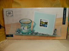 Blue Complete Centerpiece Set Glass Tray/Votive Candle Holder/Frame & Stones