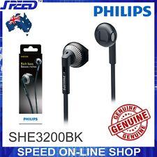 PHILIPS SHE3200BK Headphones Earphones - Rich Bass - BLACK Color - GENUINE