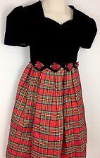 Bonnie Jean Girls Plaid Taffeta Velvet Dress Christmas Holiday 6 Shiny Shimmer