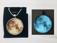 """1.5"""" Inch GLOW IN THE DARK FULL MOON Space Universe Charm Pendant Necklace"""