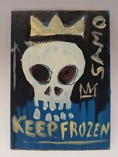 """Jean Michel Basquiat Original Oil on Board """" Samo Keep Frozen """" SIGNED JMB"""