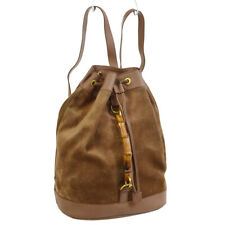 GUCCI Bamboo Backpack Brown Suede Leather Vintage AK25561h