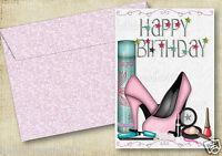 PERSONALISED STILETTOS & MAKE-UP BIRTHDAY CARD FRIEND DAUGHTER GRANDAUGHTER
