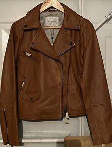 NEW L.K.BENNETT LONDON LUXURY Designer TAN LEATHER Coat JACKET RRP £395 -Size 10
