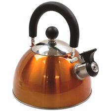 Highlander 2L Deluxe Lightweight Stainless Steel Whistling Camping Kettle Orange
