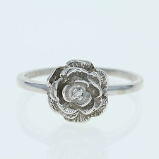 Flower Ring - 10k White Gold Diamond Accent Floral Jewelry Women's
