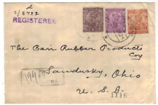 1924 Nowshera India Registered 6 Annas Cover to USA