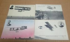PORT AVIATION JUVISY ensemble de 4 cartes aviateurs Farman de Lambert Delagrange