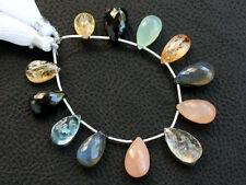 67ctw Chalcenody Blue Topaz Imperial Topaz Black Spinel Peach Moonstone Beads