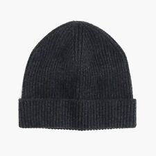 J Crew 100% Cashmere Beanie Hat Charcoal Black New NWT Cuffed