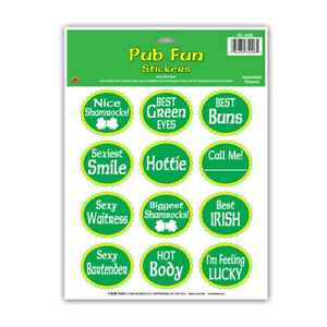 lot of 4 acid free sheets of  St Patrick Pub Fun Stickers for St Patty's